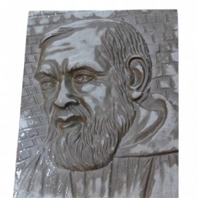 Quadro Padre Pio piastra in Ottone Naturale Made in Italy